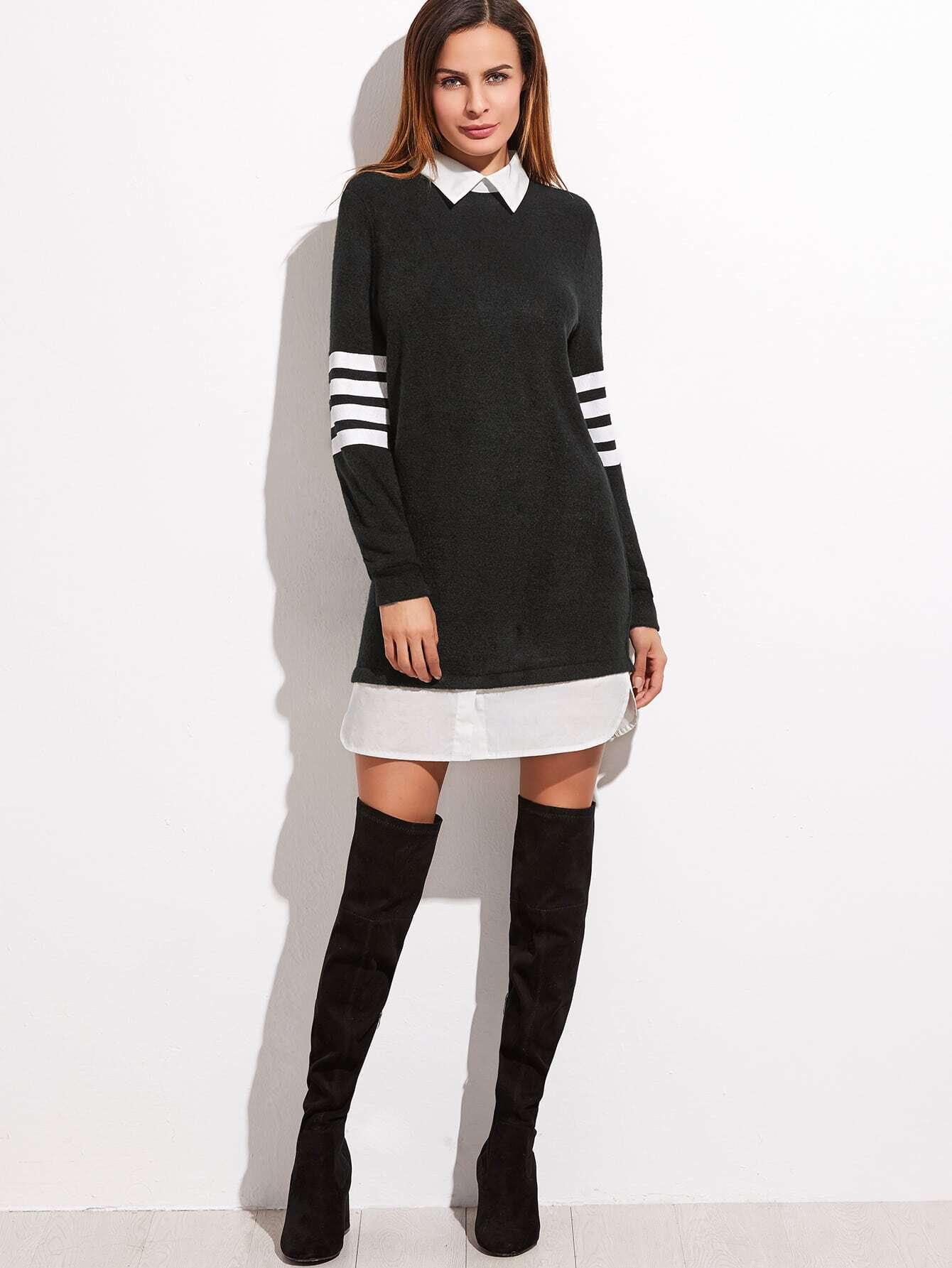 Sweatshirt Kleid Kontrast Kragen und Saum Streifen Ärmel ...