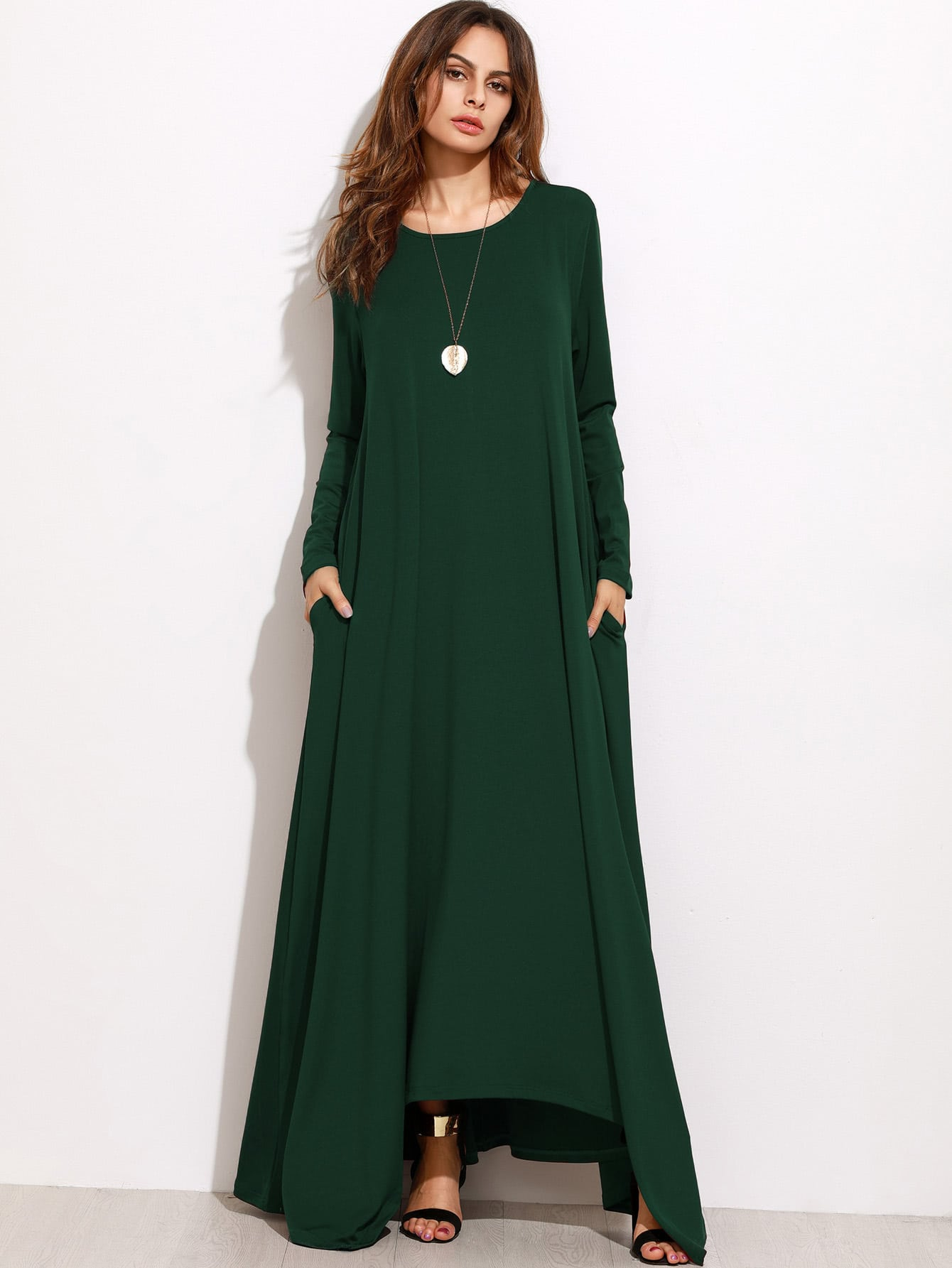 Green Long Sleeve Shift Maxi Dress