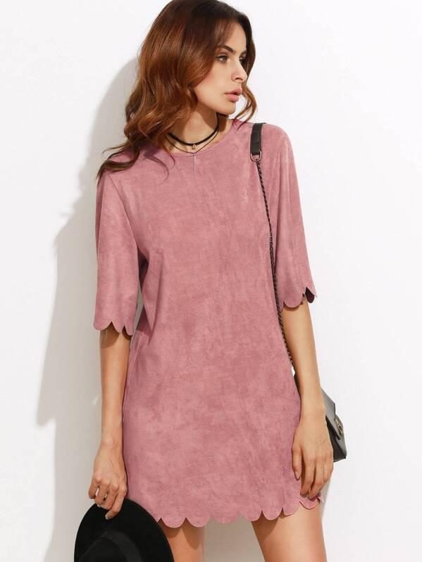 2e16a09029 Vestido festoneado con antelina sintética - rosa