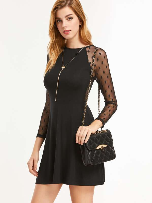 032dd7d7a536 Black Dotted Mesh Sleeve And Back Skater Dress -SheIn(Sheinside)