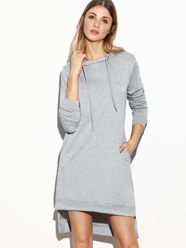 Sweatshirt Kleid mit Kapuzen Seit Schlitz Vorne Kurz Hinten Lang-grau -  German SheIn(Sheinside) d4f3f1b261