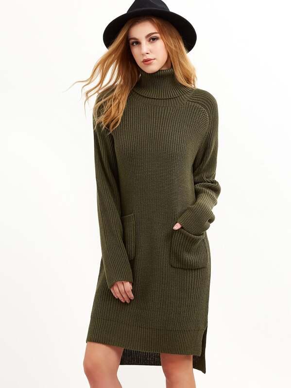 5cb815d797 Olive Green Turtleneck Pocket Front High Low Slit Sweater Dress