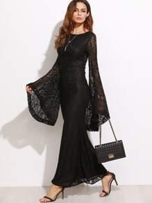 f76b38d32 فستان طويل دانتيل أسود بأكمام جرس | شي إن