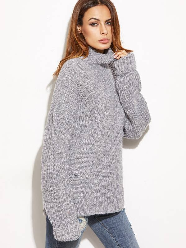 db3c39ffe61386 Grey Marled High Neck Ripped Oversized Sweater