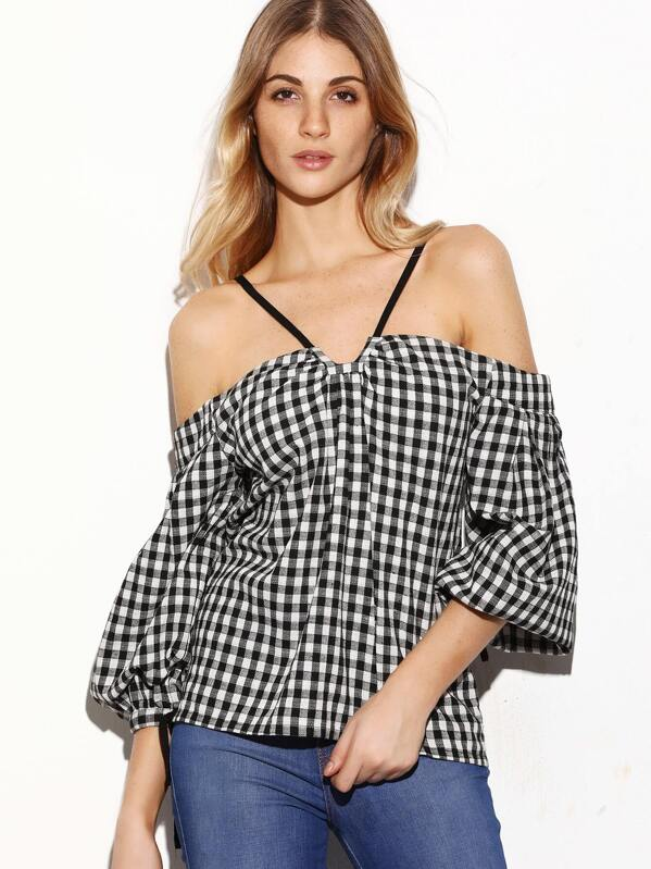 fa4c7e4600bae5 Black And White Gingham Cold Shoulder Bell Sleeve Top