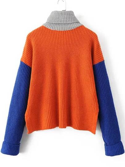 Orange Color Block Turtleneck Side Slit Sweater  c7243034e