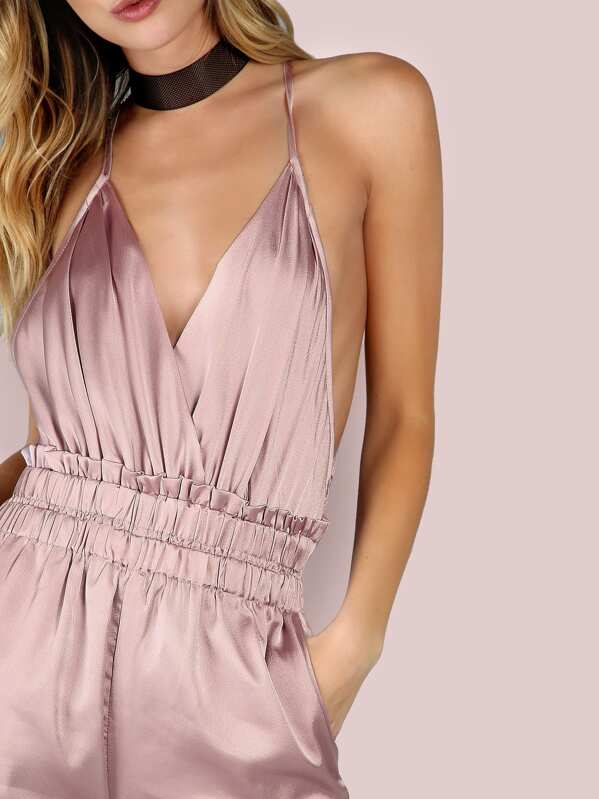 bbd8ffb3f3a7 Low Back Cross Back Satin Jumpsuit DUSTY PINK