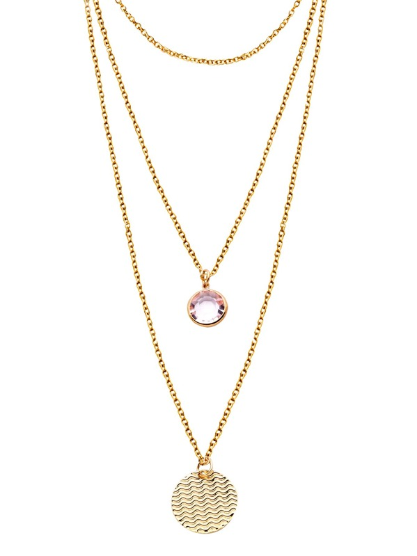3b38d246fe Gold Layered Round Rhinestone Coin Pendant Necklace | SHEIN