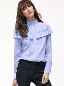 Синяя блуза в горошек с воланами