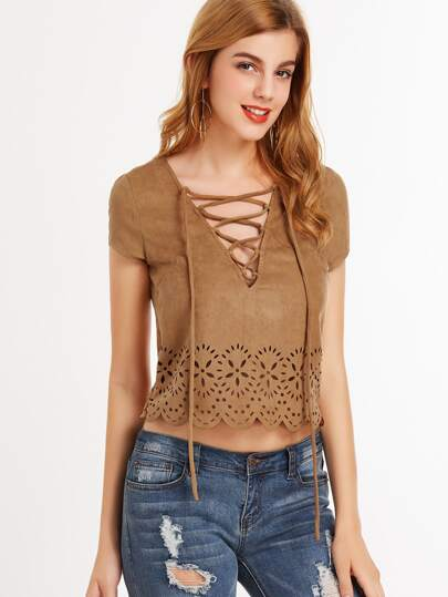 Lace Up V Neck Scallop Laser Cutout Top