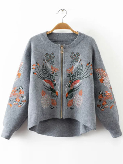 Embroidery Zipper Up High Low Coat
