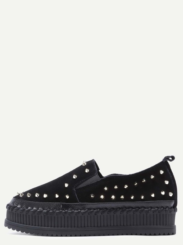 b936eaf28f Black Stud Trim Nubuck Leather Platform Shoes | SHEIN IN