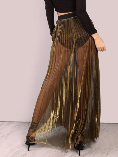 sheer metallic pleated maxi skirt gold shein sheinside