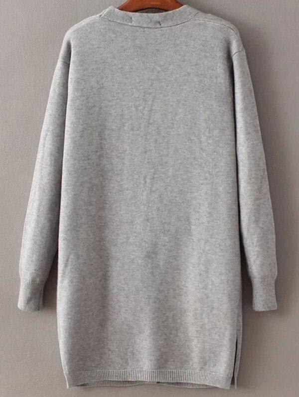 9641b062adea8 lange Strickjacke mit Taschen Cut-Outs Vorne-grau | SHEIN