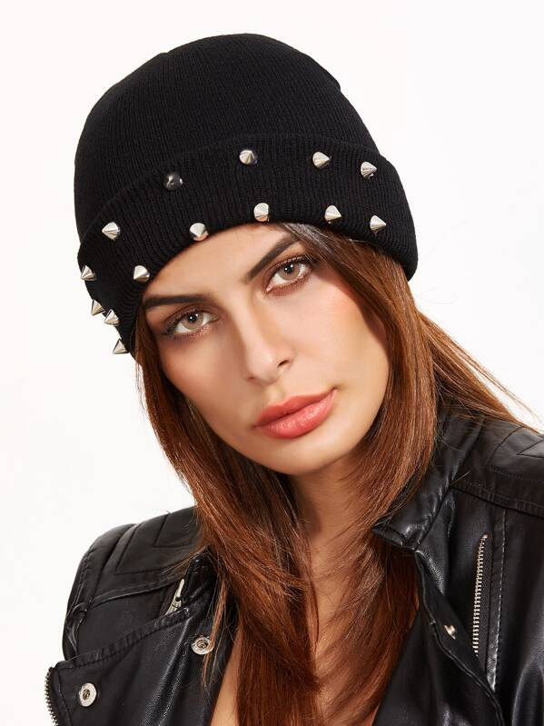 9e1289d58e Black Spike Studded Knit Beanie Hat For Women | SHEIN