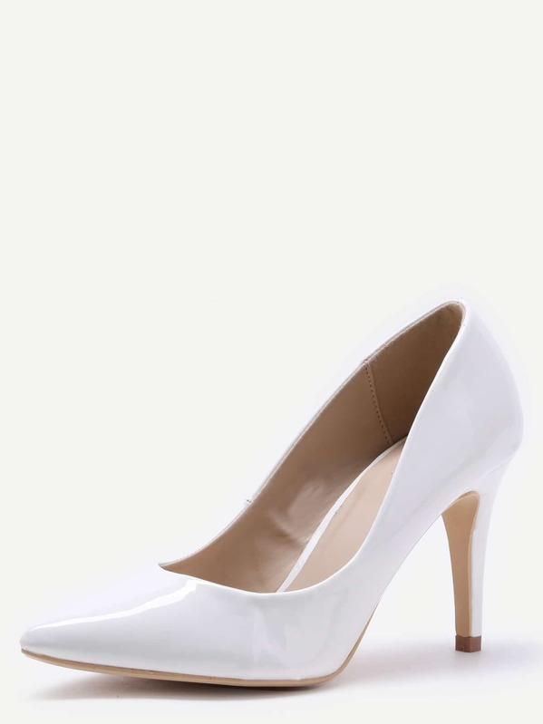 2c2c4ab30 Cheap White Faux Patent Leather Pointed Toe Pumps for sale Australia | SHEIN