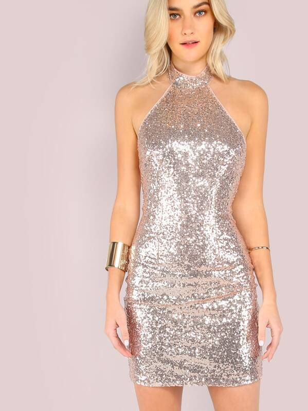 fba0ae55ae Low Back Halter Sequin Mini Dress ROSE GOLD