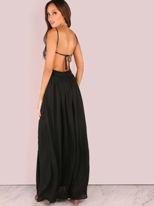 bf5bf8bb45 Sequin Floral Backless Maxi Double Slit Maxi Dress BLACK | SHEIN UK