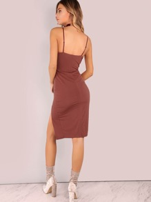 f3ae09bb86a V Neckline Low Back Slit Side Dress