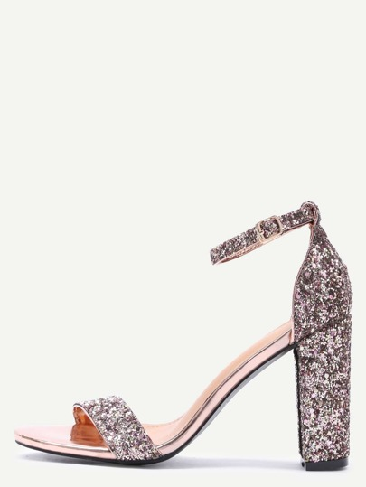 Glittery Rose Gold Sequin Open Toe Mary Jane Ankle Strap Sandals