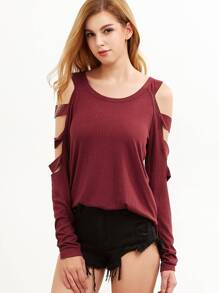 Burgundy Cold Shoulder Ladder Cutout Sleeve T-shirt pictures