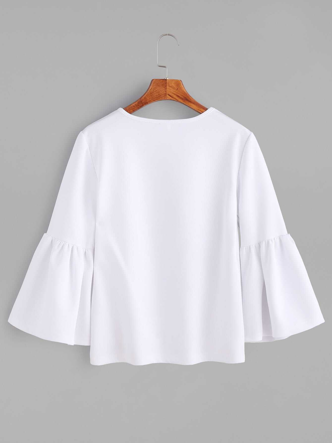 White Round Neck Bell Sleeve T-shirt