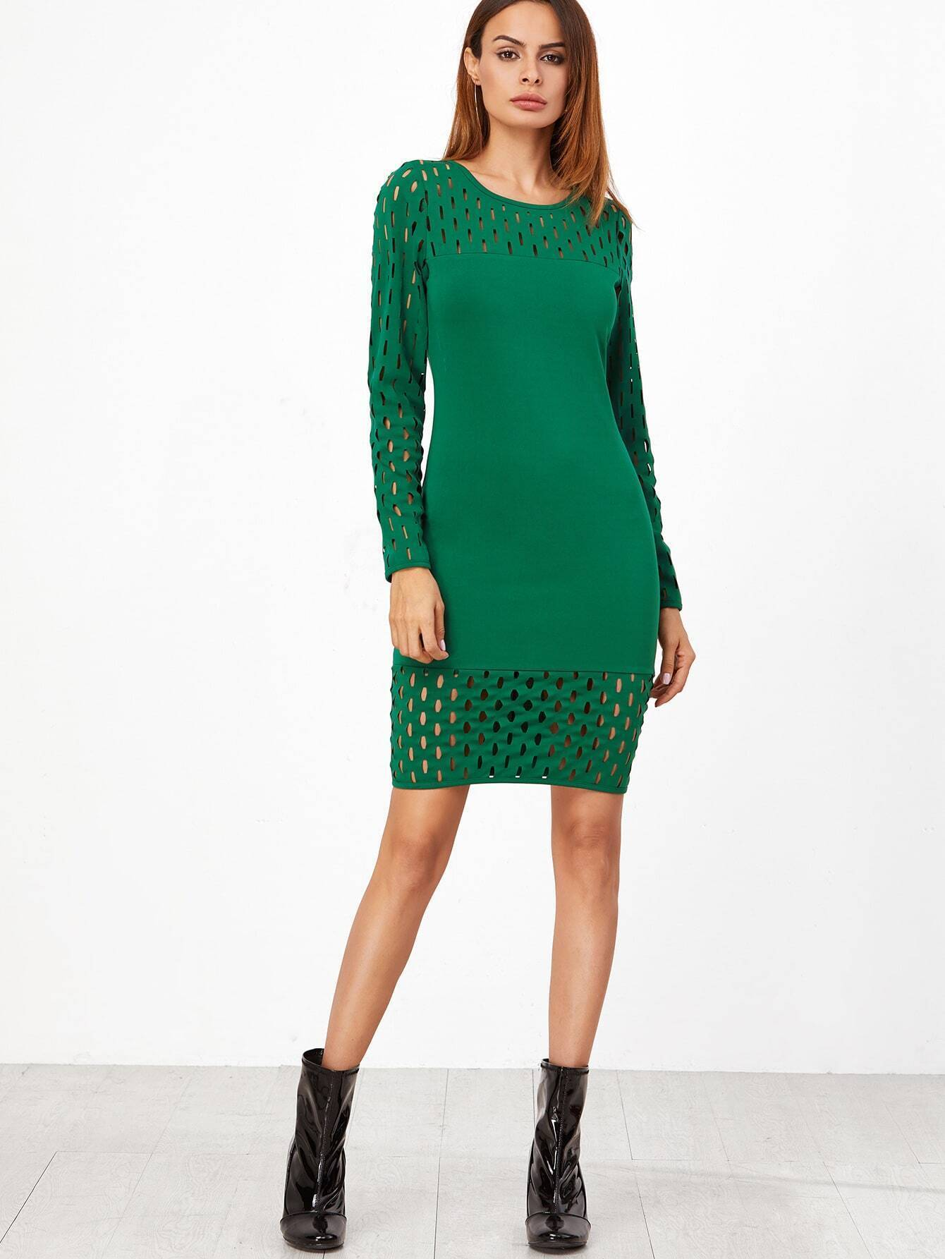 Green Hollow Out Long Sleeve Sheath Dress