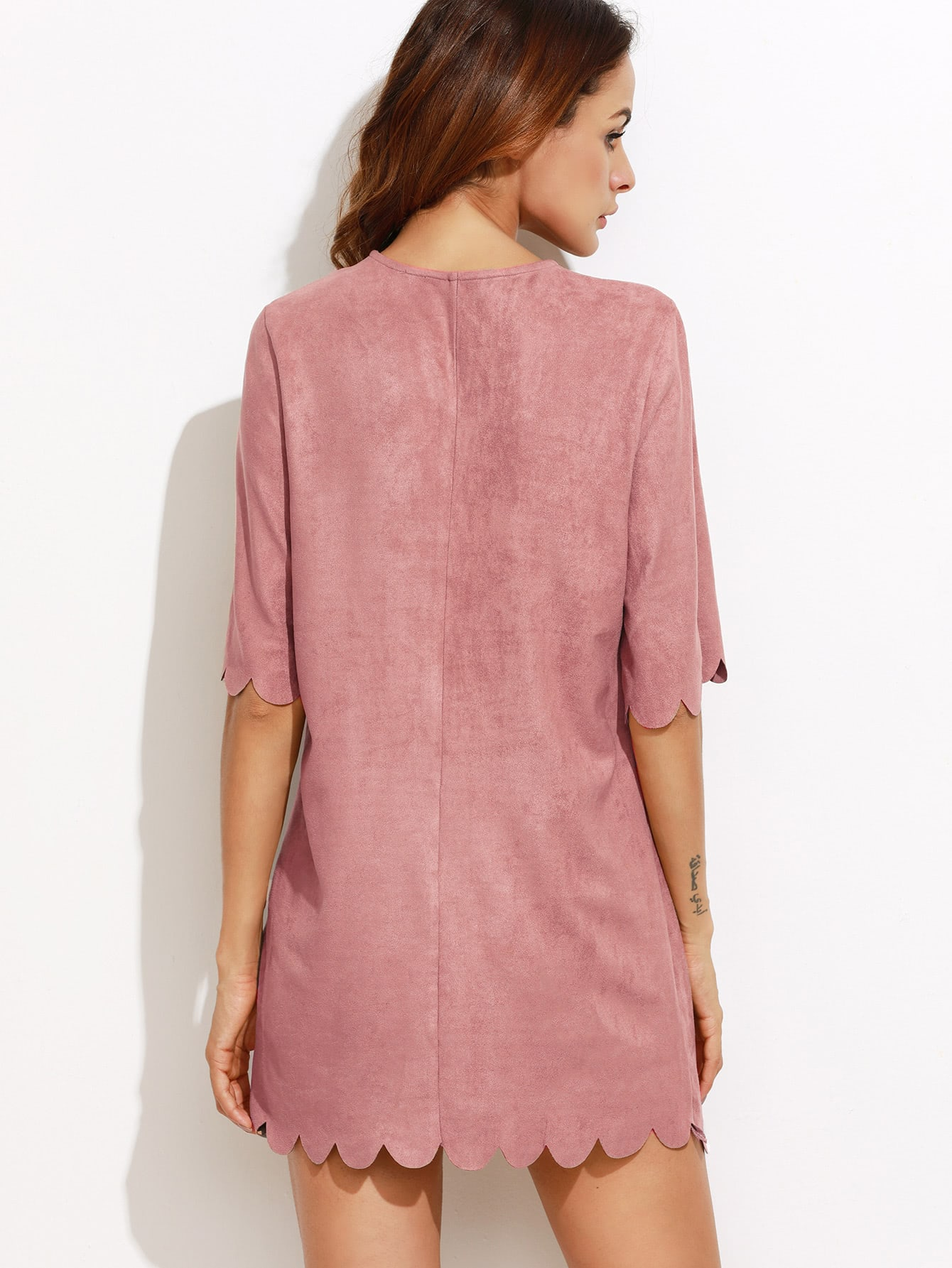 Vestido festoneado con antelina sintética - rosa -Spanish SheIn ...