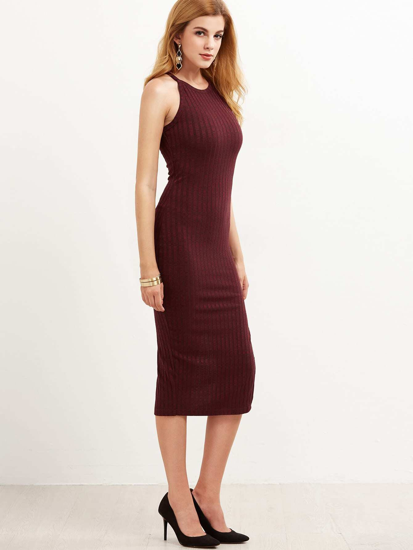 Burgundy Side Slit Ribbed Cami Dress