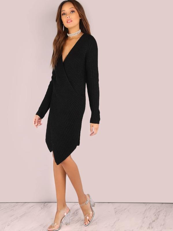 d40dcda29de Deep V Knit Sweater Dress BLACK
