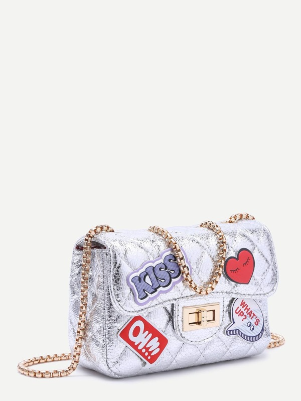 7876848fbb49 Metallic Silver Letter Patch Quilted Chain Bag -SheIn(Sheinside)