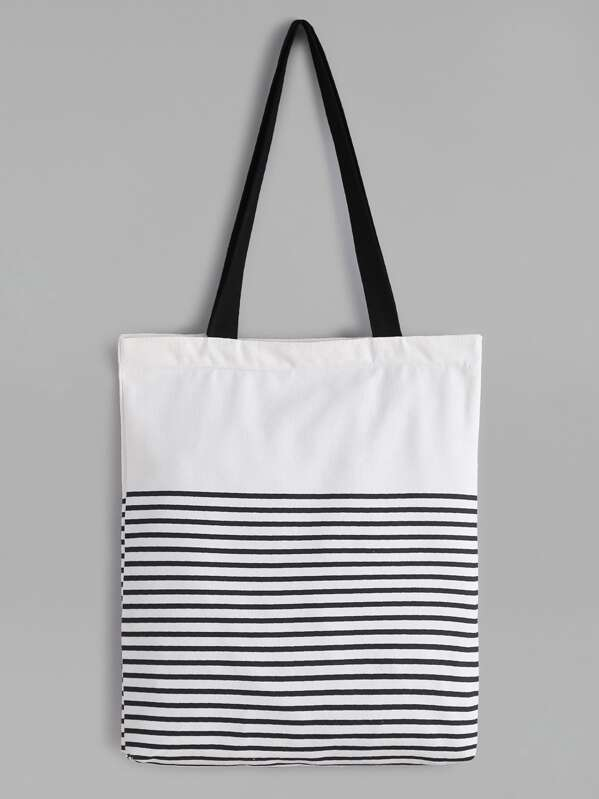 10ab6ae7c2 Cheap White Striped Canvas Tote Bag With Black Strap for sale Australia |  SHEIN