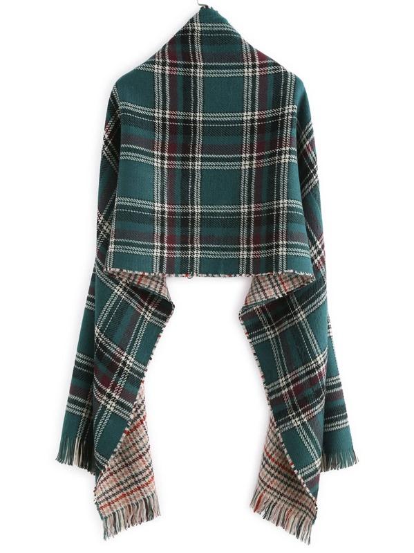 208abe25e9dc écharpe châle en tartan écossais avec frange vert-French SheIn(Sheinside)