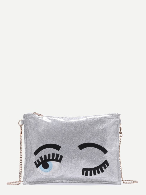 d5bf929defa4 Silver Blinking Eye Glitter Sequins Clutch Bag With Chain Strap