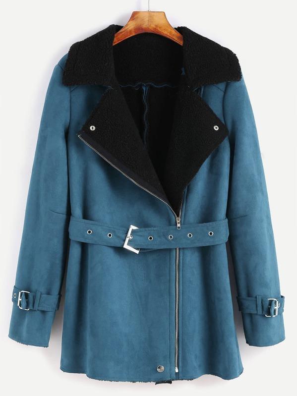 019623c7fd Green Faux Shearling Asymmetric Zip Belted Jacket   SHEIN IN