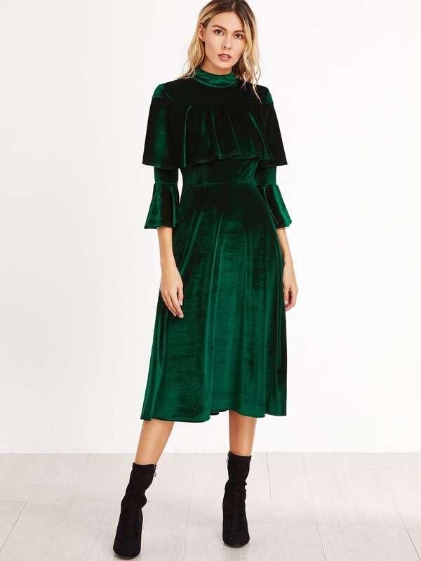 Vestido de terciopelo con manga acampanada y volantes - verde ...