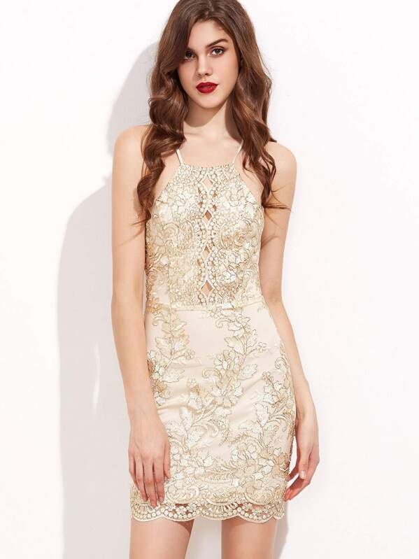 116d59b03f Apricot Racerneck Crisscross Back Embroidered Mesh Dress | SHEIN