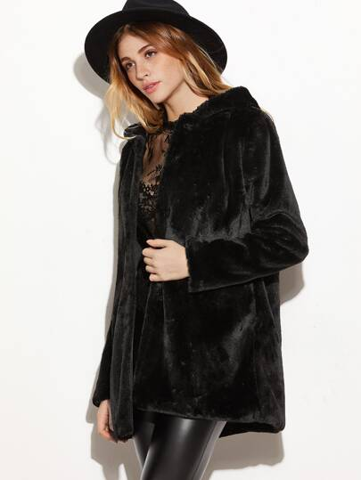 Black Open Front Faux Fur Hooded Coat -SheIn(Sheinside)