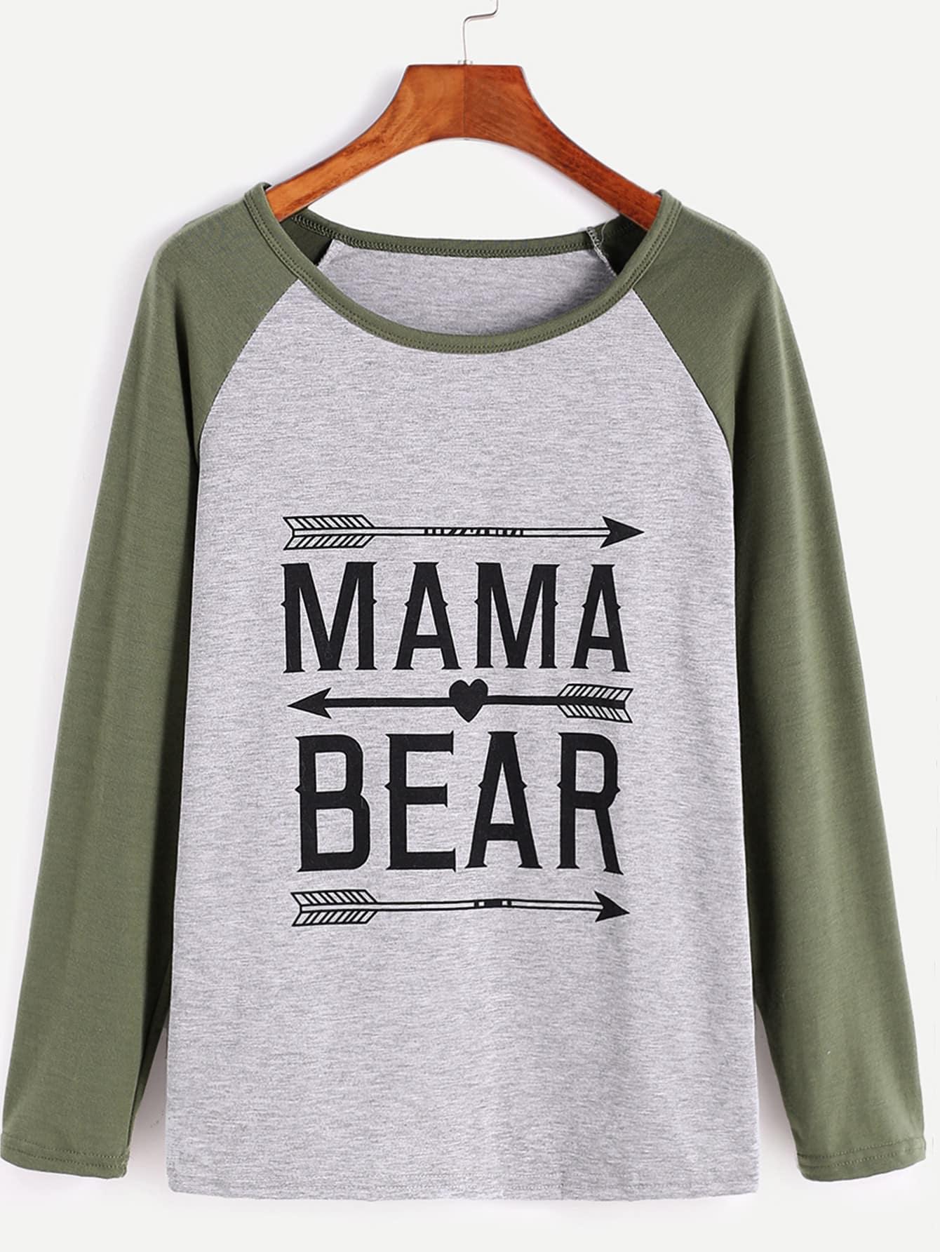 ff5576699 Contrast Raglan Sleeve Letter Print T-Shirt | SHEIN UK