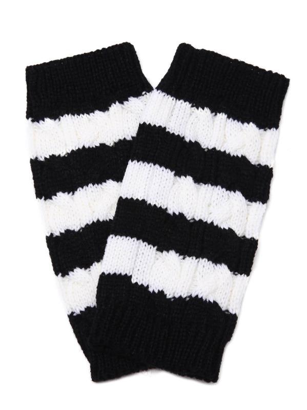 Black And White Stripe Knit Thermal Long Fingerless Gloves -SheIn ...