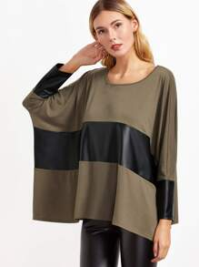 Brown Contrast Coated Panel Dolman Sleeve Oversized T-shirt pictures