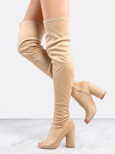 a0c66878ce8c Faux Suede Peep Toe Thigh Boots NUDE