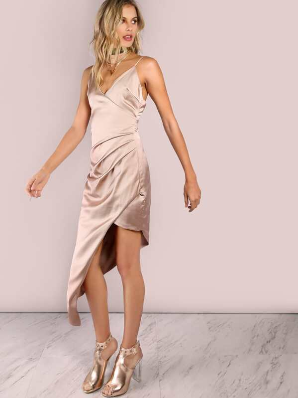 303094c238 Low Back Ruched Asymmetrical Dress CHAMPAGNE