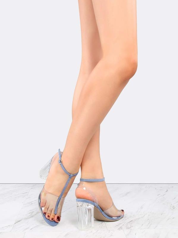 Open Toe Clear Straps Perspex Heels BLUE