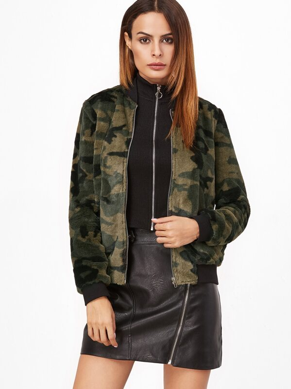976da0f12087b Cheap Olive Green Camo Fluffy Fleece Bomber Jacket for sale ...