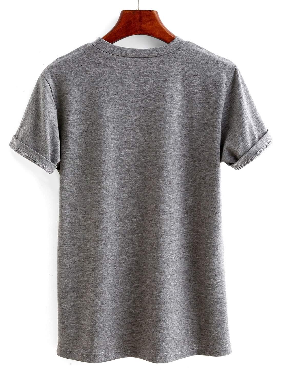 Grey Letter Print Cuffed T-shirt