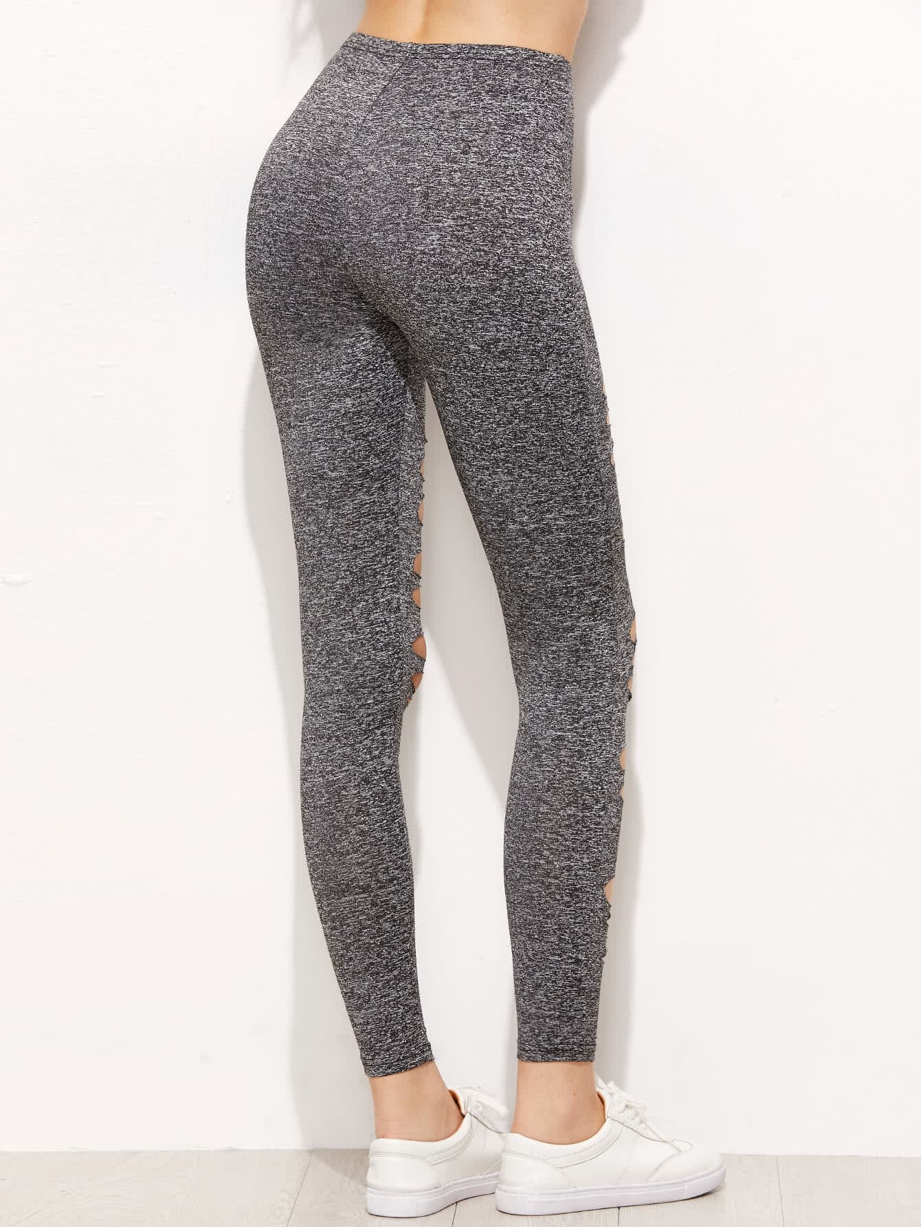 Grey Marled Knit Ripped Leggings
