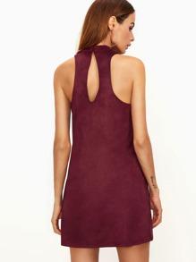 Burgundy Suede Keyhole Halter Neck Swing Dress pictures
