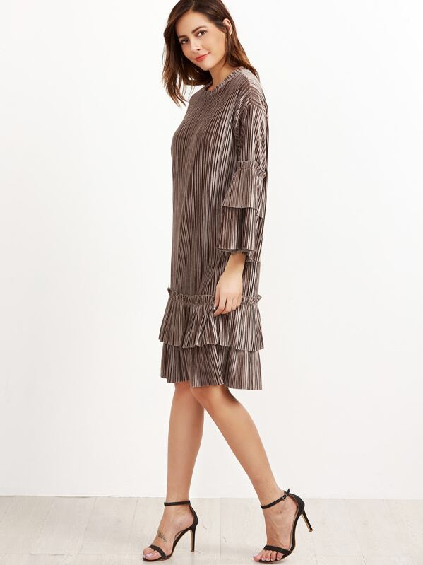 10e2b0d8d296f84 коричневое бархатное платье с лотосовой оборкой рукав клёш   SHEIN