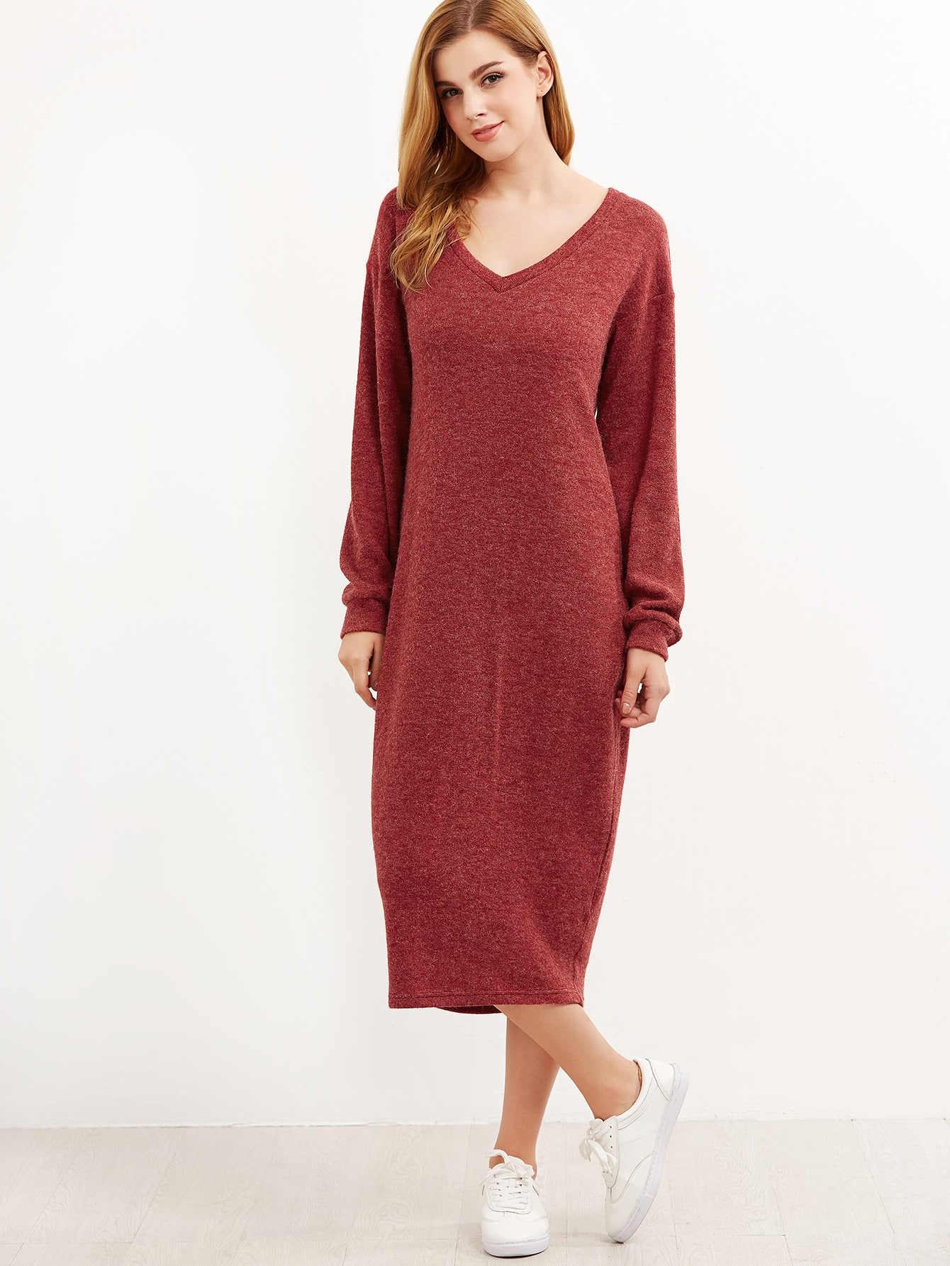 36e358d4243 V Neckline Drop Shoulder Cocoon Sweater Dress